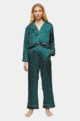 Topshop Womens Green Tile Print Jacquard Pyjama Trousers - Green