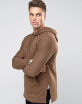 Asos Longline Hoodie With Woven Cut & Sew In Brown
