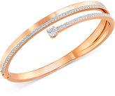 Swarovski Rose Gold-Tone Crystal and Pavé Hinged Bangle Bracelet