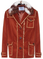 Prada Shearling-trimmed corduroy jacket