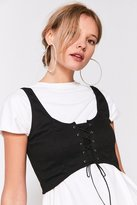 Silence & Noise Silence + Noise Faith Lace-Up Bustier Cropped Top