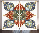 Oriental Curtains by Ambesonne, Turkish Ottoman Arabic Eastern Decor Flowers Moroccan Image, Living Room Bedroom Window Drapes 2 Panel Set, 108W X 108L Inches, White Ruby Turquoise Cadet BLue