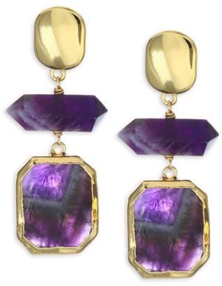 Nest Amethyst & 24K Goldplated Drop Earrings