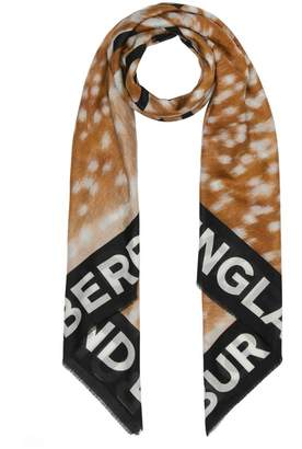 Burberry Slogan Deer Print Cotton Silk Large Square Scarf