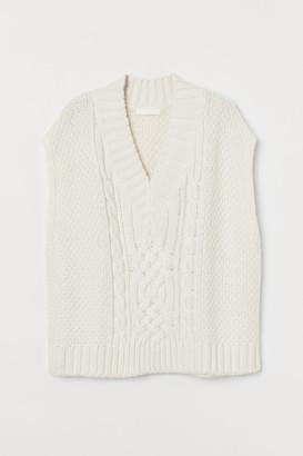 H&M Cable-knit Sweater Vest - White