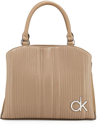 Calvin Klein Quilted Leather Top-Handle Satchel Bag