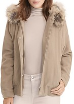 Lauren Ralph Lauren Faux Fur Trim Wool Blend Jacket