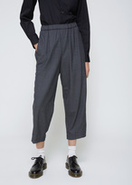 Comme des Garcons Grey Herringbone Cropped Drawstring Pant