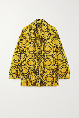 Versace Printed Silk Pajama Shirt - Yellow