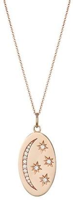 Nina Gilin 14K Rose Gold Diamond Moon Stars Oval Pendant Necklace