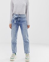 Asos Design DESIGN Farleigh high waisted straight leg jeans in acid wash with belt detail