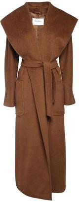 Max Mara Hooded Drap Camel Coat