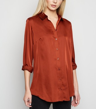 New Look Satin Long Sleeve Longline Shirt