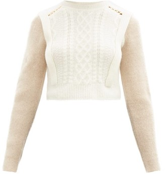Self-Portrait Contrast-sleeve Cable-knit Sweater - Ivory