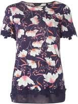 Dorothy Perkins Navy Floral Lace Hem T-Shirt