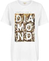 River Island Womens White sequin print boyfriend T-shirt