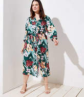 LOFT Plus Tropical Tie Waist Midi Shirtdress