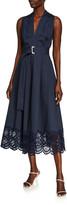 Lela Rose Sleeveless Belted Embroidered Eyelet-Hem Poplin Dress