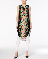 Cable & Gauge Floral-Print High-Low Tunic