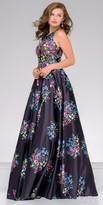 Jovani Floral Embroidered Jewel Neckline A-line Evening Dress