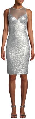 Tadashi Shoji Sequin & Mesh Illusion Sleeveless Dress