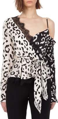 Self-Portrait Self Portrait Leopard-Print Wrap Top