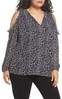 MICHAEL Michael Kors Plus Size Women's Leopard Print Cold Shoulder Top