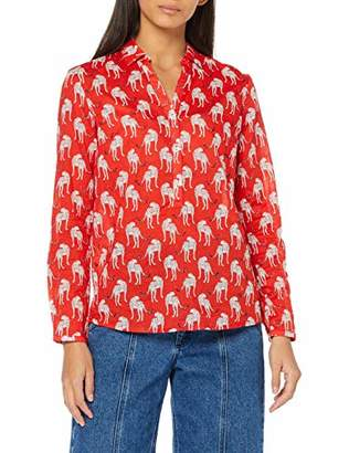 S'Oliver Women's 14.904.11.2253 Blouse, (Brick red AOP 26A5), 16 (Size:)