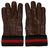 Gucci Leather Web-Trimmed Gloves