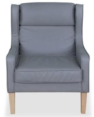 "Mahomet 21.7"" Armchair Brayden Studio Fabric: Dull Blue, Leg Color: Oak"