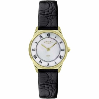Rotary Women's Ultra Slim Watch with Black Leather Strap LS08002/41