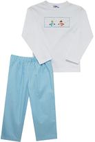 Blue Gingham Snowman Smocked Tee & Pants - Infant