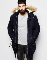 Asos Parka With Faux Shearling Hood In Navy