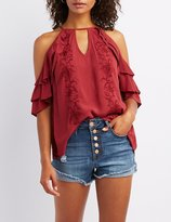 Charlotte Russe Embroidered Ruffle-Trim Cold Shoulder Top