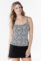 Classic Women's Long Beach Living Scoop Tankini Top-Black/White Blossom