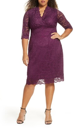 Kiyonna Scalloped Boudoir Lace Sheath Dress