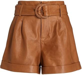 Frame Leather Belted Paperbag Shorts