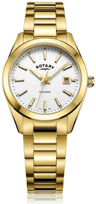 Rotary Watches Men S Havana 31mm Gold White Stainless Steel Watch