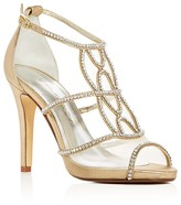 Caparros Ellen Jeweled Metallic Satin High Heel Sandals