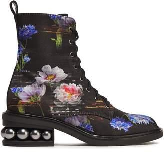 Nicholas Kirkwood Faux Pearl-embellished Floral-print Satin Ankle Boots