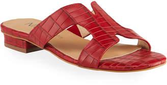 Neiman Marcus Belita Croc-Print Slide Sandals