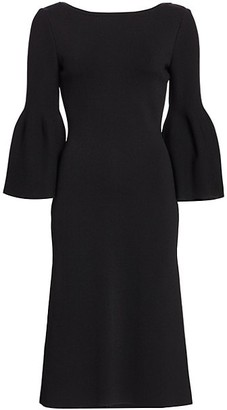 St. John Sculpt Milano Bell Sleeve Midi Dress