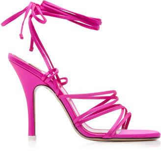 ATTICO Strappy Satin Lace-Up Sandals