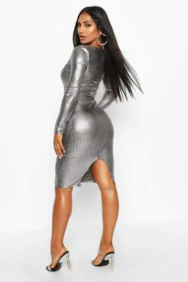 boohoo Metallic Square Neck Midi Dress