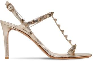 Valentino 85mm Rockstud Metallic Leather Sandals