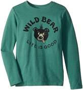 Life is Good Wild Bear Long Sleeve Crusher Tee Boy's Long Sleeve Pullover
