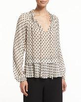 Rebecca Taylor Long-Sleeve Chiffon Box-Clip Top, Cream/Black
