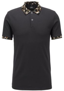 BOSS Slim-fit polo shirt with patterned collar and cuffs