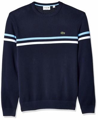 Lacoste Men's Long Sleeve Mix Stich 2 Stripe Sweater