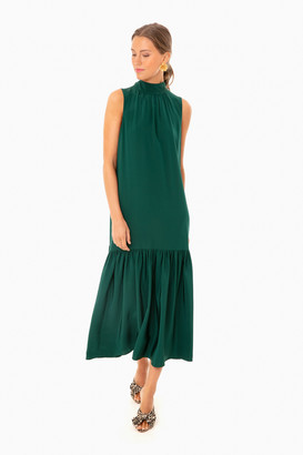 Tibi Bright Pine Eco Silk Dropwaist Dress